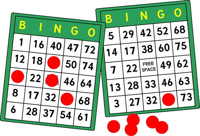 Two bingo cards overlapping with red place markers on the side.