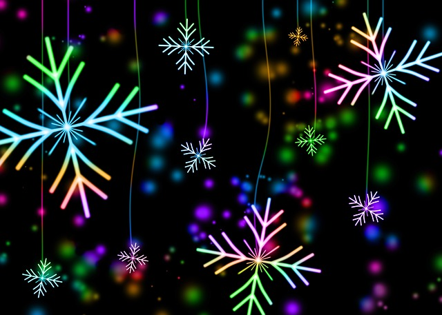 Snowflakes made to look like fireworks.