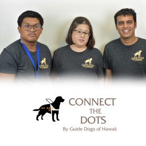 Podcast Team in a group photo. Connect the Dots logo overlay